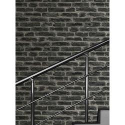Papier peint Industry Noir, briques gris anthracite. Graham & Brown