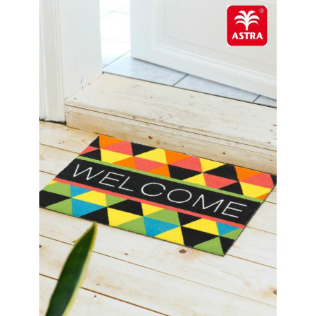 "Paillasson intérieur ""Welcome triangles multicolores"" - Young Star ASTRA 40x60"