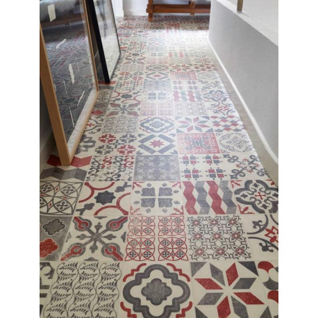 Sol PVC - Almeria Red carrelage retro rouge - Iconik Resist TARKETT- rouleau 4M
