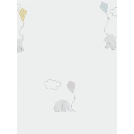 Papier peint intissé enfant à motif Elephants bleu - MY LITTLE WORLD Caselio