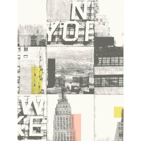 Papier peint intissé Patchwork New-York rose, jaune - TONIC Caselio