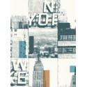 Papier peint New York Carré bleu et cuivre - TONIC - Caselio - TONI69483511
