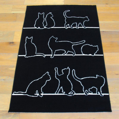"Tapis velours ras ""Chats noir et blanc"" - Flash BALTA 120x170"