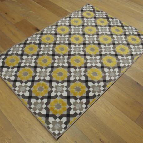 Tapis corde et poil ras Retro à motifs carreaux de ciment taupe et moutarde - 120x170cm - FLOW