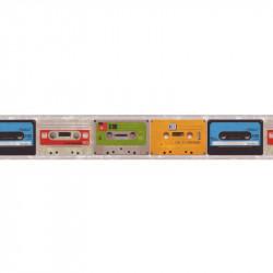 Frise adhésive K7 vintage cassettes audio - multicolore - Lutèce