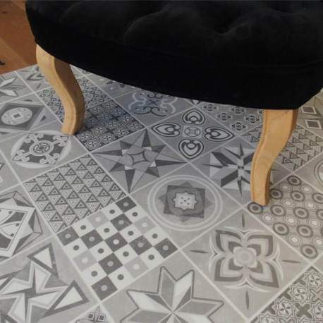 Lame PVC clipsable - carreaux de ciment gris - Collection Deco Tile Click