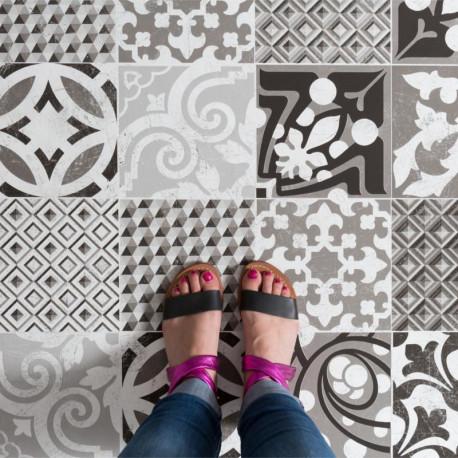 Sol PVC - Provence carreaux de ciment noir et blanc - Texline GERFLOR - rouleau 4M