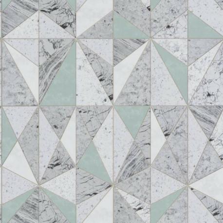 Papier peint géométrique effet marbre vert gris - Material - Caselio