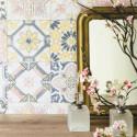 Papier peint Carreaux de Ciment jaune et rose - MATERIAL- Caselio - MATE69626044