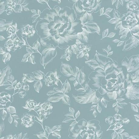 Papier peint floral bleu  - Smile - Caselio
