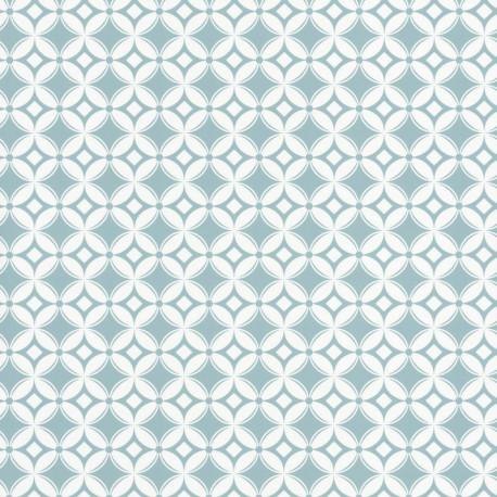 Papier peint carreaux rétro bleu- Smile - Caselio