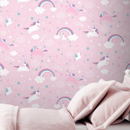 Papier peint enfant Licorne rose - Ugepa