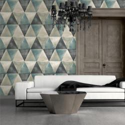 Papier peint vinyle Triangles bleu et cuivre effet métallisé - Hexagone - UGEPA