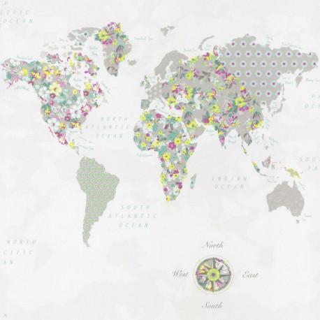 Papier peint WorldMap vert jaune - PRETTY LILI - Caselio - PRLI69185070