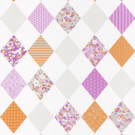 Papier peint pour enfant, Losange orange violet, PRETTY LILI, CASELIO