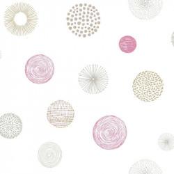 Papier peint pour enfant Rond Graph, rose et taupe PRETTY LILI, CASELIO
