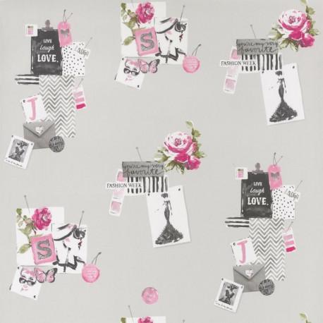 Papier peint pour enfant MADAME, gris et rose PRETTY LILI, CASELIO