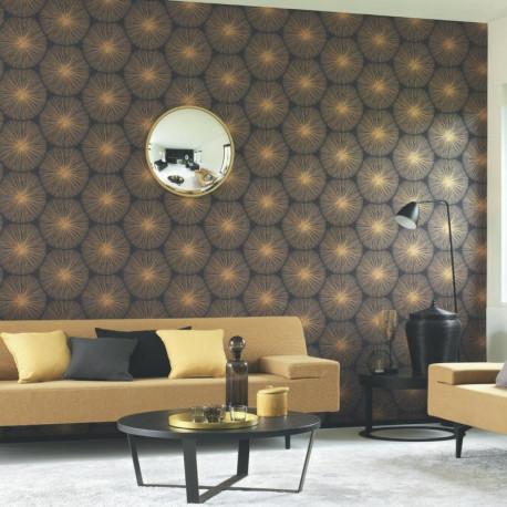 Papier peint Éclat gris anthracite et doré - Helsinki - Casadeco