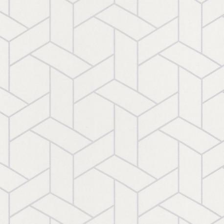 Papier peint Focale blanc argenté - HELSINKI - Casadeco - HELS82030121