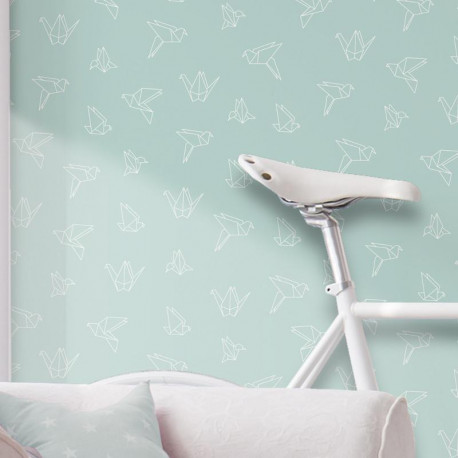 Papier peint Oiseaux Origami bleu pastel - GRAPHIQUE - Ugepa - L469-01/GRA19051