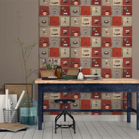 Papier peint trompe l'oeil Casier Atelier rouge - VOYAGES - UGEPA