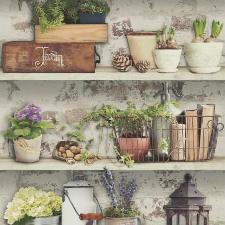 Papier peint trompe l'oeil Atelier Etabli de jardin - VOYAGES - UGEPA