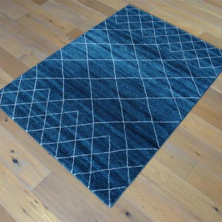 Tapis Scandi bleu nuit, motif géométrique blanc cassé - 120x170cm - ELLE - BALTA