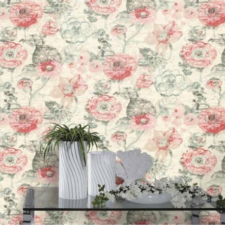Papier peint Fleur Vintage gris et rose - LUCY IN THE SKY - Rasch - 803723