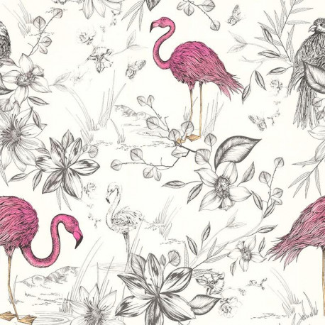 Papier peint FLAMANTS ROSES - Rétro Vintage - Lutèce