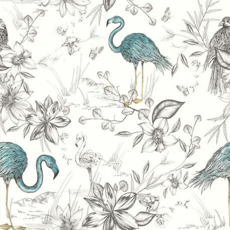 Papier peint FLAMANTS ROSES bleus - Rétro Vintage - Lutèce