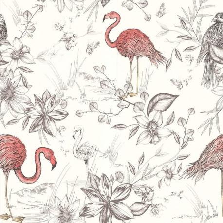Papier peint FLAMANTS ROSES corail - Rétro Vintage - Lutèce