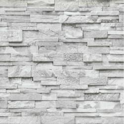 Papier peint trompe l'oeil Parements gris clair - PS International