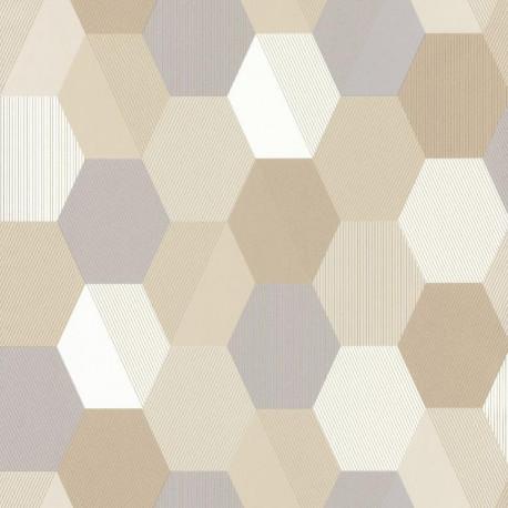 Papier peint Hexagon Beige – SPACES – Caselio