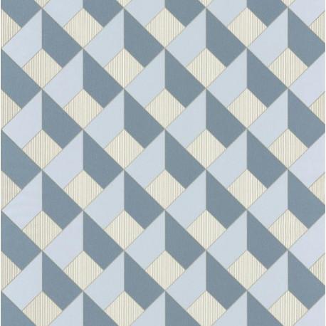 Papier peint Square Losange Bleu/Gris – SPACES – Caselio