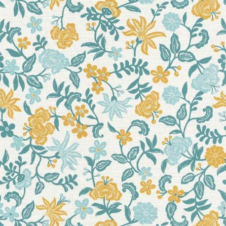 Papier peint Bohemia floral bleu et jaune sur fond blanc – Acapulco - Caselio