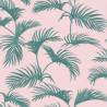 Papier peint Palmes Motifs feuilles de palmier vert sur fond rose – JUNGLE - Caselio