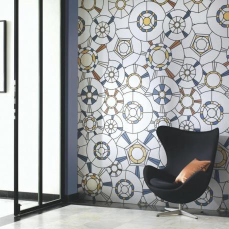 Panoramique vitraux GRAND CAFE couleurs - Belle Epoque Casadeco