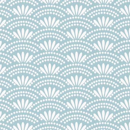 Papier peint motif japonais HAIKU bleu clair - HANAMI - Caselio