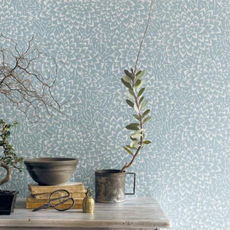 Papier peint floral HANA bleu clair - HANAMI - Caselio