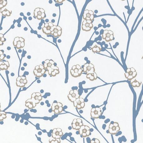 Papier peint cerisier japonais SAKURA bleu gris - HANAMI - Caselio