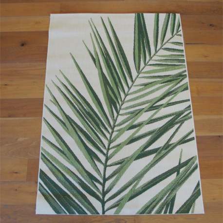 "Tapis corde ""Tropical feuillage vert écru"" - Star BALTA 140x200"