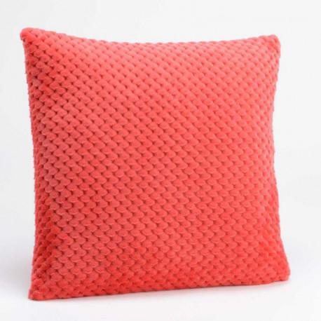 Coussin relief damier uni rouge cranberry - 40x40cm - Amadeus