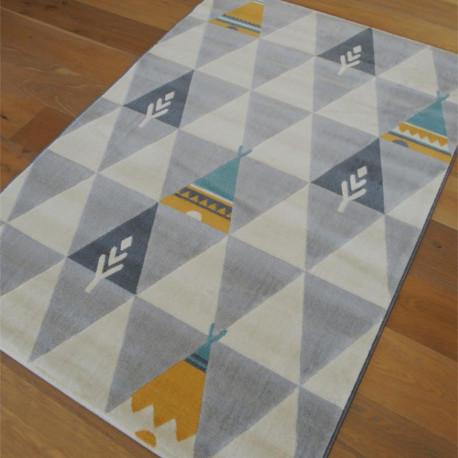 Tapis enfant Tipi - motif indien tipis colorés sur triangles gris et écru - Canvas - 120x170cm