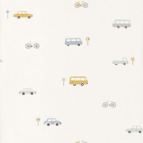 Papier peint intissé enfant Voitures vintage bleu/jaune - HAPPY DREAMS Casadeco