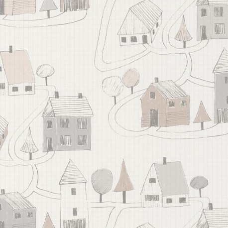 Papier peint Small Village gris et beige - HAPPY DREAMS - Casadeco - HPDM82841329