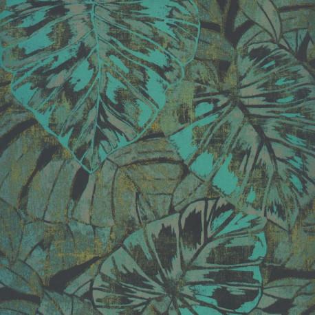 Papier peint FEUILLES vert mousse / emeraude - PANAMA- Casadeco
