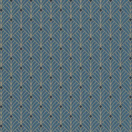 Papier peint MISTINGUETT bleu canard et doré - SCARLETT - Caselio
