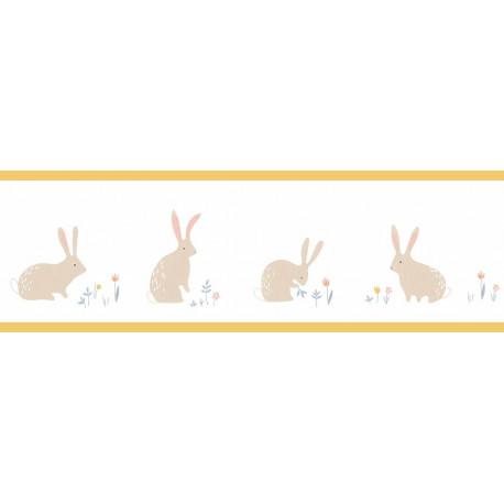 Frise enfant Bunny jaune à motif lapins - HAPPY DREAMS Casadeco