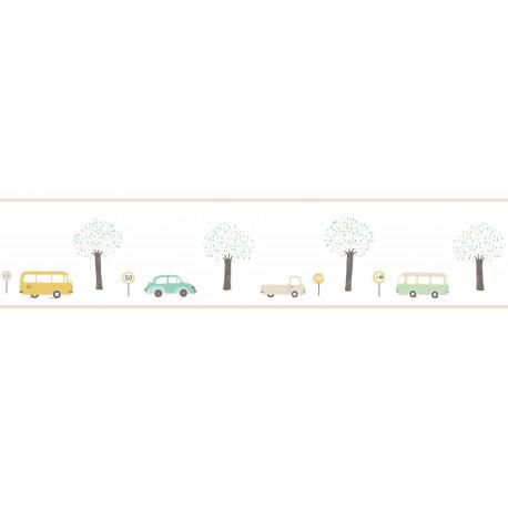 Frise enfant Vintage Cars vert menthe à motif voiture - HAPPY DREAMS Casadeco