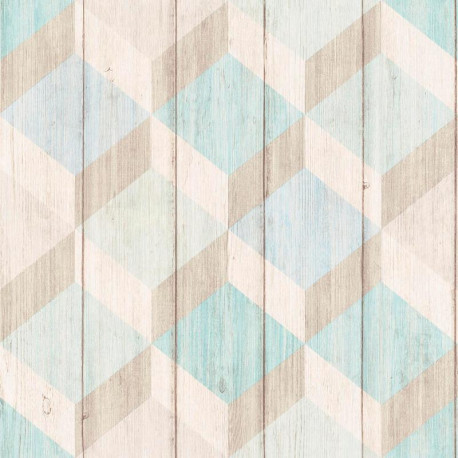 Papier peint Cubes bois bleu vert - INSPIRATION WALL - Grandeco - IW2002